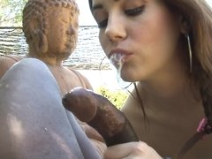 A brunette woman is sucking a large black dick in this video
