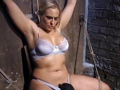 Boobalicious blonde bdsm sub spanked & toyed