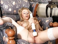 Hot Femorg Blonde in Stockings Bates Moist Twat to Orgasm