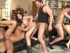 Three ladies with sexy asses and cunts are in a passionate orgy