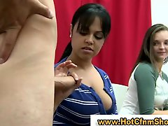Cfnm kittens give a guy a handjob in reality groupsex