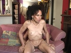 Skinny old lady riding dick with her beautiful bush