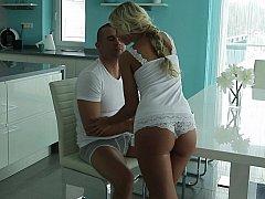 Horny young European blondie
