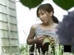 Voyeur asian teen outdoor getting off