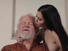 Teenage Interrupts Grandpa from Yoga And furthermore Gives head his Cock
