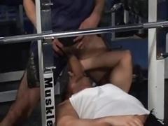 Filthy Gays Threeway Make love In Gym
