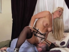 Desirable blonde in stockings gets nailed