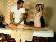 Threeway adoring gals screwed by the masseur