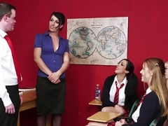 Brit teacher gives head sub in front of students