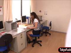 Cute Japanese office girl masturbates