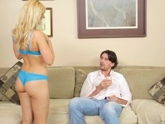 Very cute blonde babe got to play with her new boy toy today