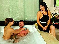 Salle de bains, Sucer une bite, Queue, Époux mari, Massage, Suçant, Épouse