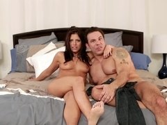 Two people take a shower and then fool around in the bed together