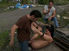 Cute Felicia gets fucked hard with help of stranger