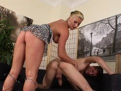 A milf that loves to lick male ass is milking his big hard cock