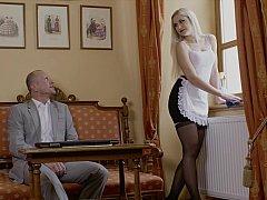 Erstaunlich, Schlafzimmer, Blondine, Fingern, Hotel, Hausmädchen, Muschi, Strümpfe