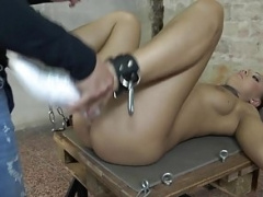 Kilted bondage sub pussy fucked by dom