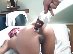 Backdoor fisting and also whiskey bottle penetration