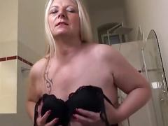 Slutty German Housewife Playing In Her Bathroom