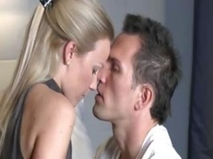 Clean-shaven man penetrating hot european babe