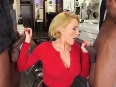 European blonde milf gets hammered by two black dudes with monster dicks