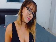 Aroused Breasty Nerd Rides Her Dildo Dildo
