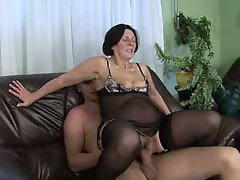 Aged Granny with Hairy Bush Fucked by Young and fresh Stud
