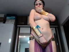Newbie brunette double toying on online camera