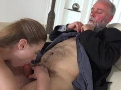 Old businessman fucks a beautiful blonde escort on the couch