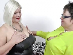 OldNannY A duo Big-breasted Meaty Lesby Milfs Playing