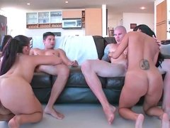 Two gorgeous bimbos get drilled by the horny studs