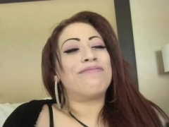 Redhead tattooed broad pounded by two guys