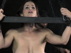 Boobalicious sub tiedup & ass drilled with hook