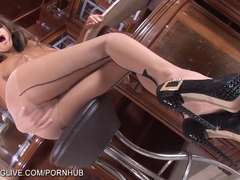 Perfect bodied Russian brunette in tan pantyhose playing naughty