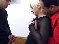 Two amateur dudes are ready to fuck this sweet looking blondie