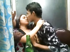 Indian paramours smooching n mounds squeeszing front of pals