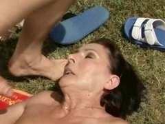 Granny getting fucked pretty hard outdoor