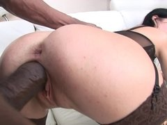 Black cocks cum inside white pussies in a hot creampie compilation