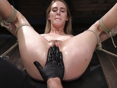 Blonde Sex Servant Cadence Lux Abused in Rope Bondage and Squi