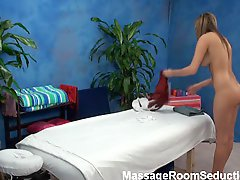 Sexy babe seduced in massage room