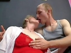 Shaggy Granny Gets A Cumshot on face