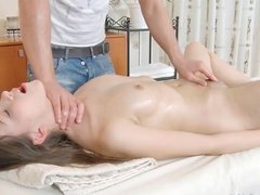 Dusya having very brutal intercourse on small white massage table