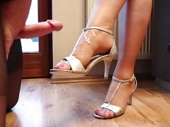 Hard and furthermore soft sex with cum on the sexy nylon feet champion of