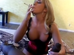 Smoking Blonde in Underwear Sucking cock