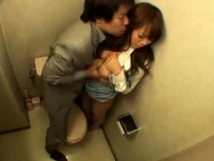 Bigtitted Japanese girl getting screwed in the office toilet
