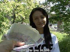Leie, Braunhaarige, Tschechisch, Europäisch, Geld, Pov, Öffentlich, Reiten