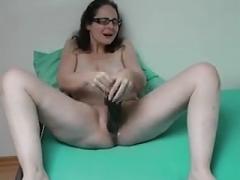 Sabine playing with her big dildo