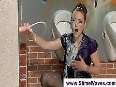 Slimy bukkake shower at a gloryhole