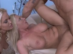 Strong phallus is able to serve slits of two blondes at once