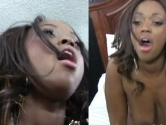 Interracial porn casting scene with black bombshell